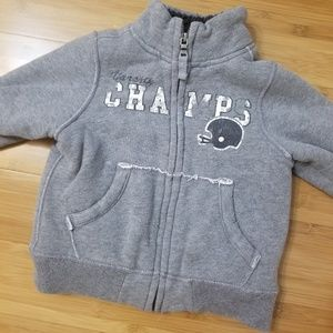Boys zip up sweatshirt with faux sherpa lining 24m